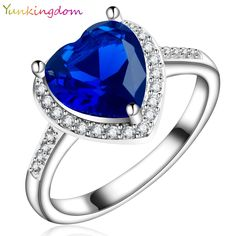 Yunkingdom love heart style White gold plated Ring  CZ synthetic gemstone Bride's Wedding Rings for Women charming jewelry X0030