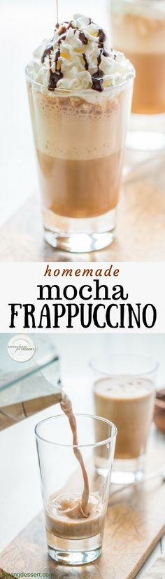 Cool and creamy, Homemade Mocha Frappuccino is a simple summertime treat made with just a few ingredients. Inexpensive and delicious! Homemade Mocha, Homemade Iced Coffee, Starbucks Recipes, Coffee Recipes, Drink Recipes, Starbucks Hacks, Starbucks Drinks, Starbucks Coffee, Mocha Frappuccino
