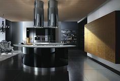 isla redonda negra preciosa en la cocina moderna