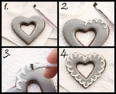 How to make simple brush embroidery heart cookies (LilaLoa).