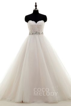 Perfect Sweetheart Train Tulle Ivory/Champagne Sleeveless Wedding Dress with Beading and Appliques LWZT15044