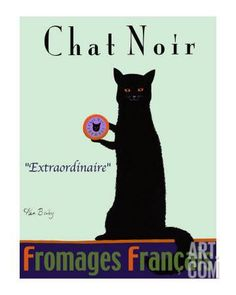 Chat Noir - Black Cat Collectable Print by Ken Bailey at Art.com