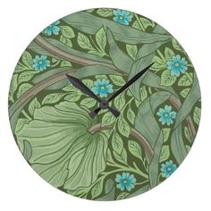 Wallpaper Pattern Sample with Forget-Me-Nots Large Clock - vintage gifts retro ideas cyo