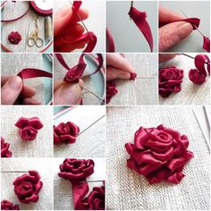 Wonderful Ribbon Embroidery Flowers by Hand Ideas. Enchanting Ribbon Embroidery Flowers by Hand Ideas. Ribbon Embroidery Tutorial, Ribbon Flower Tutorial, Silk Ribbon Embroidery, Embroidery Stitches, Embroidery Patterns, Embroidery Supplies, Embroidery Store, Rose Embroidery, Embroidery Techniques