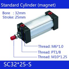 SC32*25-S Free shipping Standard air cylinders valve 32mm bore 25mm stroke SC32-25-S single rod double acting pneumatic cylinder #Affiliate
