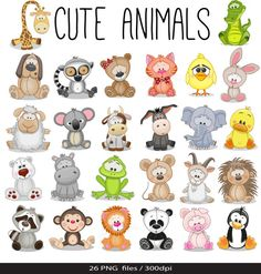 Dieren Baby digitale Clipart / Safari dieren illustraties / Zoo dieren Clipart / voor persoonlijke en commerciële gebruik / Instant Download