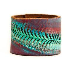 Tooled Belt Bracelet Leather Cuff Bohemian OOAK by rainwheel, $78.00