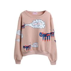Long Sleeve Cartoon Print Round Neck Pullover Sweatshirt ($16) ❤ liked on Polyvore featuring tops, hoodies, sweatshirts, hooded pullover, cartoon hoodies, hooded sweatshirt, comic book et pullover sweatshirts