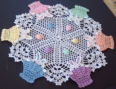 My second listing of this doily for the Easter season.  Peek A Boo Bunny Easter Crochet Doily