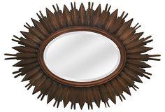 """Ari"" mirror is oval. Wood, 40"" x 58"""