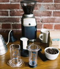 STEP ONE INVERTED METHOD First, measure and grind 17 grams (1 rounded AeroPress scoop or just under 3 Tablespoons) of fresh coffee – the ground