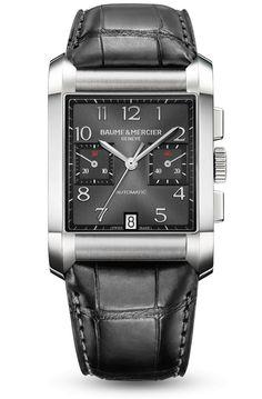 Découvrez la montre XL homme, avec bracelet cuir et fonction chronographe, Hampton 10030, conçue par Baume et Mercier, manufacture de montres suisses.