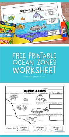 , Ocean Zones For Kids: Learning About The Amazing Ocean , Free Printable Ocean Zones Worksheet Preschool Lessons, Kindergarten Activities, Science Activities, Preschool Ocean Activities, Camping Activities, Layers Of The Ocean, Ocean Lesson Plans, Ocean Unit, Ocean Ocean