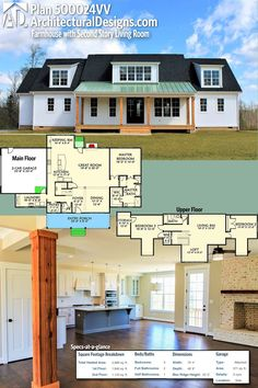 Architectural Designs Modern Farmhouse Plan 500024VV has a second story living room for added space to entertain or relax. The home gives you nearly 3,000 square feet of heated living space and 3 bedrooms. Ready when you are. Where do YOU want to build? #