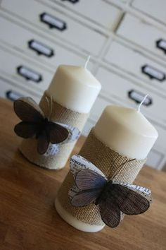 Burlap candle wraps with butterflies