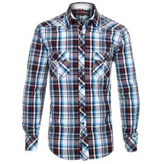Rock & Roll Cowboy Men's Plaid Long Sleeve Western Shirt