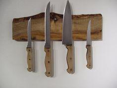 Live edge magnetic knife rack in knotty Alder Magnetic Knife Blocks, Magnetic Knife Rack, Weathered Wood, Old Wood, Barn Wood, Knife Display Case, Pocket Knife Brands, Butcher Block Oil, Wood Knife