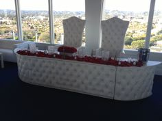 Leather Head Table Rental Los Angeles King and queen chairs