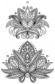 Would make a nice, colorful embroidery pattern. Doodle Coloring, Mandala Coloring Pages, Coloring Book Pages, Coloring Sheets, Tatoo Henna, Lotus Tattoo, Mandala Tattoo, Mandalas Drawing, Mandala Painting