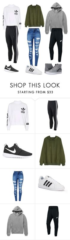 """My squad"" by madzzbrookez on Polyvore featuring adidas, NIKE, WithChic, John Elliott and Vans"
