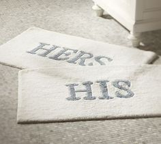 His & Hers Bath Mats #potterybarn