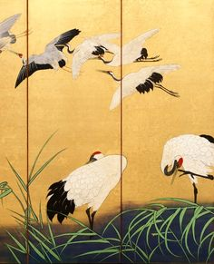 Detail. REEDS AND CRANES. Suzuki Kiitsu (Japanese, 1796-1858). 19th Century. One of a pair of Japanese folding screens. Colors on gilded silk. DIA. Japanese Artwork, Japanese Prints, Japanese Crane, Folding Screens, Yellow Art, Japan Art, Woodblock Print, Panel, Ink Painting