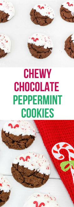 These chocolate peppermint cookies are chewy with a white chocolate coating that will make them the hit of the Christmas cookie exchange. #christmascookie #cookieexchange