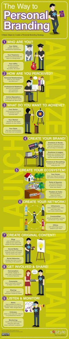 9 Top Tips for successful personal  -- How to establish your personal brand with 9 Top Tips on personal branding www.socialmediamamma.com  Branding Infographic