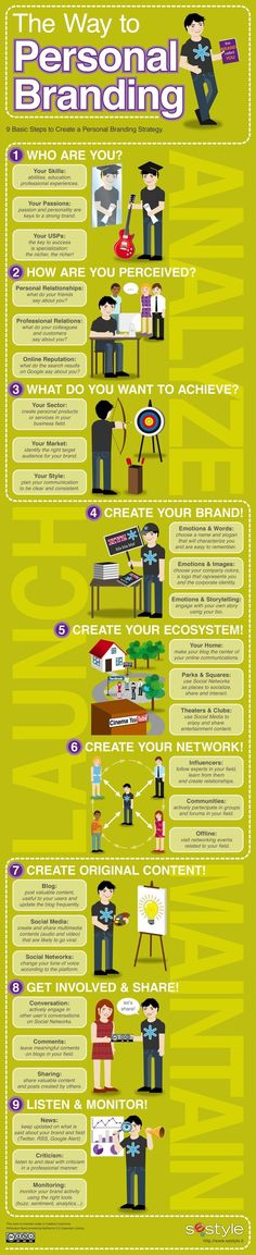9 Top Tips for successful personal  -- How to establish your personal brand with 9 Top Tips on personal branding www.socialmediamamma.com  Branding Infographic