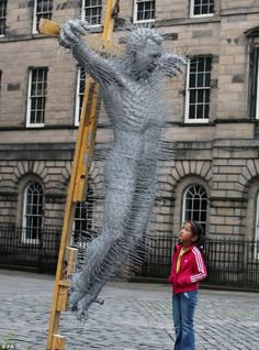 Hung out to dry: David Mach's stunning sculpture depicting the crucifixion of Christ was made using hundreds of coathangers Sculpture Projects, Sculpture Art, Jesus Face, Artistic Installation, King James Bible, Jesus On The Cross, Coat Hanger, City Art, Crucifix
