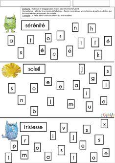 La couleur des émotions : Relier les lettres pour former des mots – MC en maternelle