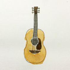 【水彩画】ギター / illust,guitar,watercolor