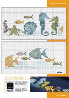 Cross Stitch Letters, Cross Stitch Bookmarks, Cross Stitch Baby, Cross Stitch Charts, Cross Stitch Embroidery, Cross Stitches, Fish Patterns, Bead Loom Patterns, Stitch Patterns