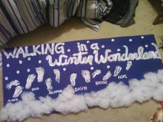 "Walking In A Winter Wonderland: Winter craft for families or a class (pictured: daycare infant class). Use blue paper or poster board & white tempera paint (washes right off little feet!). Sprinkle glitter on top of paint while wet for extra sparkle, and glue fake cotton ""snow"" or cotton balls to the bottom! Parents loved it!"