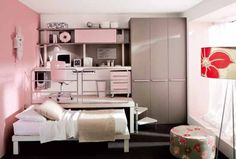 Pink loft teenage bedroom design- Love the USE of taller than the average ceiling which is normally 8'- using that extra height to their advantage to form a 2 level space in this room~GirlNesting
