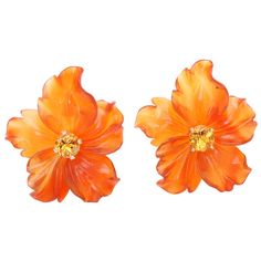 Carved Carnelian Flower Jackets with Citrine Stud Earring   From a unique collection of vintage more earrings at https://www.1stdibs.com/jewelry/earrings/more-earrings/