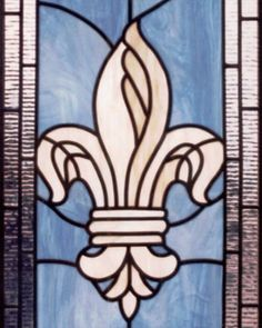 "fleur de lis stained glass | FLEUR DE LIS"" LEADED STAINED ..."