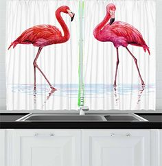 Animal Kitchen Curtains by Ambesonne Two Hand Drawn Flamingos in Pink Colors on Seaside Tropical Exotic Wildlife Artwork Window Drapes 2 Panels Set for Kitchen Cafe 55 W X 39 L Inches Red Pink *** Click for Special Deals