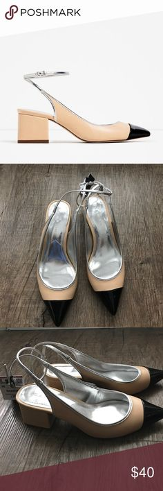 "Zara Cap Toe Slingbacks NWT Brand New w/ tags. Block heel 2"". Zara Shoes"