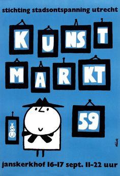 Dick Bruna   Kunst Markt poster  52,5x77, 1959, pr. De Jong & Co, Hilversum