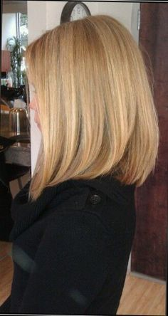 Blonde hair / Mid length hair / long bob / straight hair / blonde bob / balayage highlights / lob / women's hair cut / long layers | followpics.co