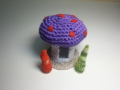 Cozy Purple Toadstool Dwelling and Gnome Couple by AubreyMade,