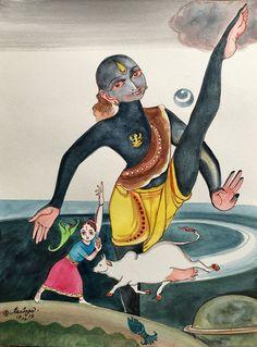 The Earth reveals itself. Mysore Painting, India Painting, Krishna Painting, Krishna Art, Krishna Images, Hare Krishna, Indian Illustration, India Art, Indian Artist