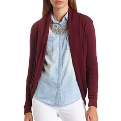 Charlotte Russe Long Sleeve Cocoon Cardigan ($7.49) ❤ liked on Polyvore featuring tops, cardigans, burgundy, round top, blue long sleeve top, thick cardigan, charlotte russe and charlotte russe cardigans