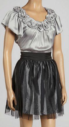 Gray Rosette A-Line Dress