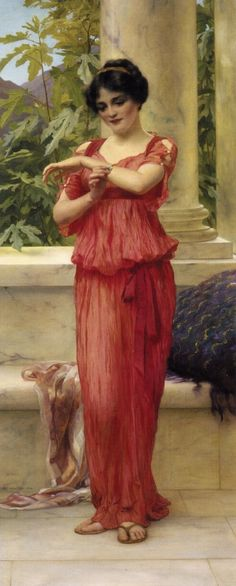 The Bracelet - William Clarke Wontner - The Athenaeum John William Godward, Amber Tree, Art Through The Ages, Academic Art, Roman Fashion, Pre Raphaelite, Historical Art, Classical Art, Beautiful Paintings