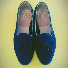 Church's blue suede tassels.      Blue suede shoes done right.