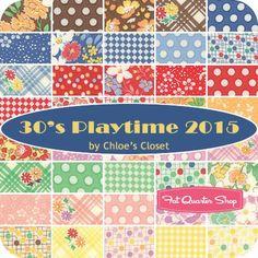 "30's Playtime 2015 Charm Pack ReservationChloe's Closet for Moda Fabrics - Charm Packs & 5"" Squares | Fat Quarter Shop"