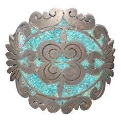 MEXICAN SILVER AND GROUND TURQUOISE CUFF MARKED 925    $475