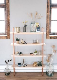 Copper & Timber Scaffold Wood Large Shelving Unit